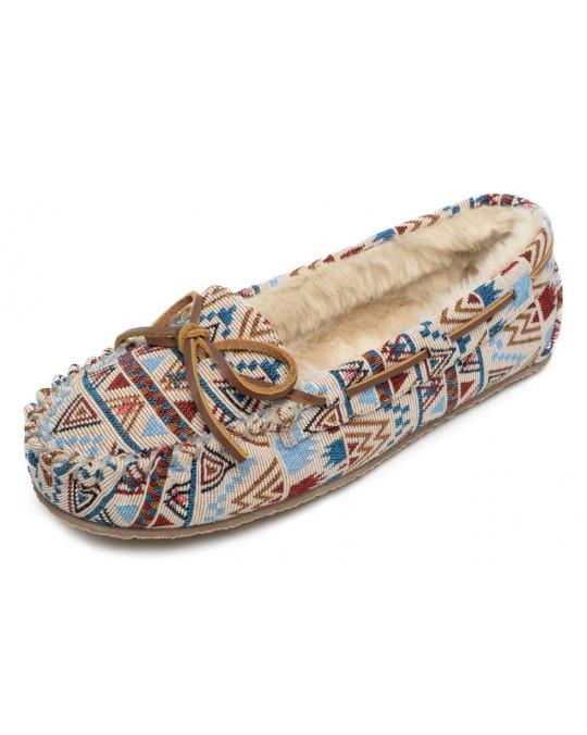 Slipper Cally, gefütterte Damen-Hausschuhe - Cream Mosaic NEU