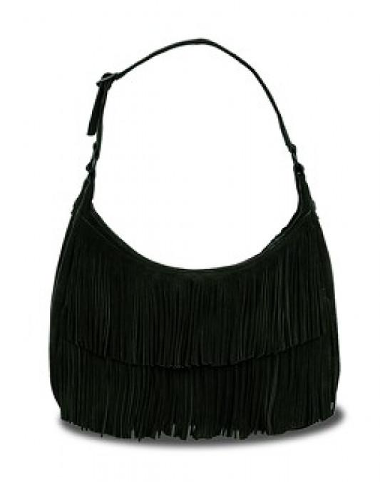 Handtasche mit 2 Lagen Fransen in schwarz