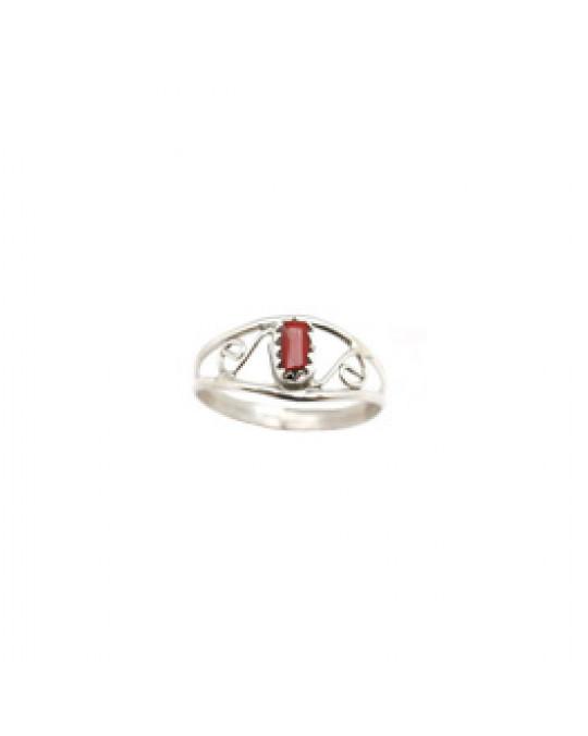 Ring der Navajo mit Spiralen und einer Koralle